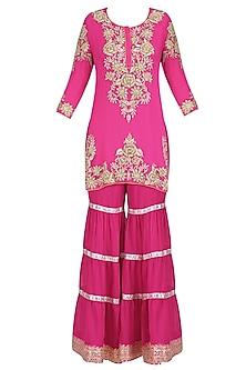 Fuschia Pink Floral Embroidered Short Kurta and Garara Pants Set by Mynah Designs By Reynu Tandon