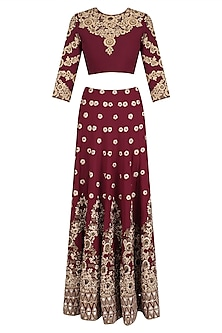 Maroon and Gold Floral Embroidered Lehenga Set by Mynah Designs By Reynu Tandon