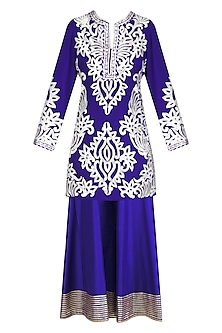 Blue and Silver Gota Patti Work Kurta with Sharara Pants