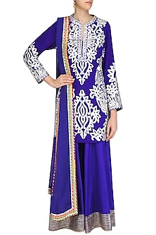 Blue and Silver Gota Patti Work Kurta with Sharara Pants by Mynah Designs By Reynu Tandon