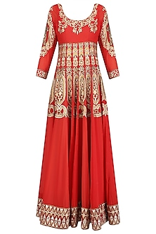 Red Gota Patti and Sequins Embroidered Flared Anarkali Set