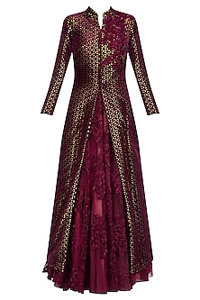 Maroon Lasercut Applique Work Gown and Jacket Set
