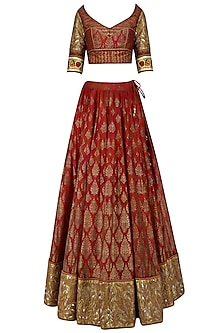 Red maroon embroidered lehenga set