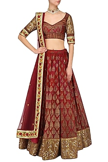 Red maroon embroidered lehenga set by Mynah Designs By Reynu Tandon