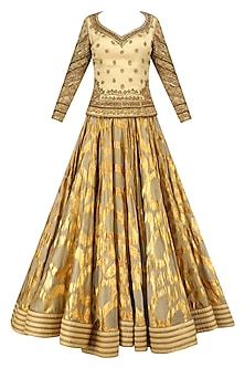 Olive Green Machine and Adda Embroidered Lehenga Set by Mynah Designs By Reynu Tandon