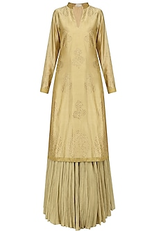 Gold Swarovski Work Kurta and Skirt Set