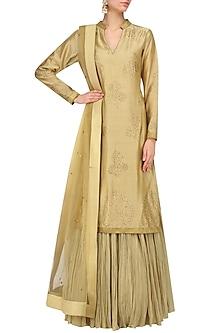 Gold Swarovski Work Kurta and Skirt Set by Mynah Designs By Reynu Tandon
