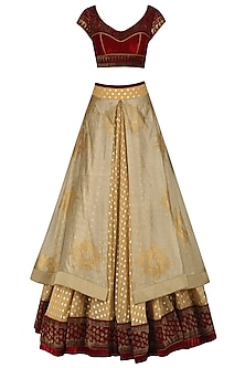 Maroon and gold aari work lehenga set