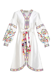 White Floral Embroidered Bell Sleeved Dress