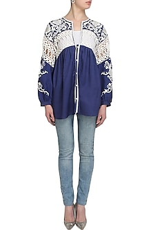 Blue Floral Embroidered Cotton Top by Mynah Designs By Reynu Tandon