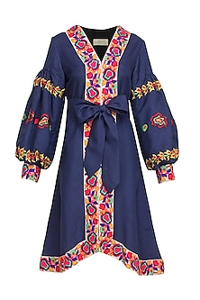 Blue Floral Embroidered Cotton Dress by Mynah Designs By Reynu Tandon