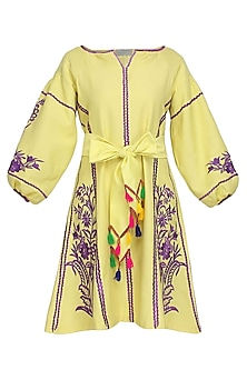 Lime Yellow Floral Embroidered Tafta Dress