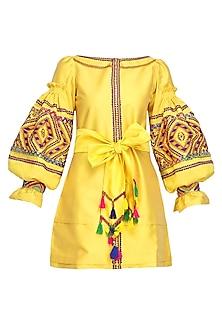 Yellow Geometric Embroidered Tafta Dress by Mynah Designs By Reynu Tandon