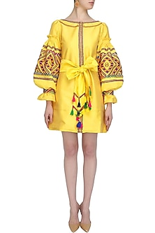 Yellow Geometric Embroidered Tafta Dress by Mynah Designs By Reynu Tandon