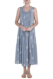 Grey embroidered printed maxi dress by Myoho
