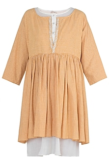 Ochre yellow embroidered tunic