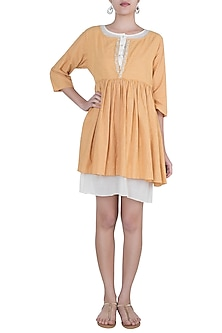 Ochre yellow embroidered tunic by Myoho