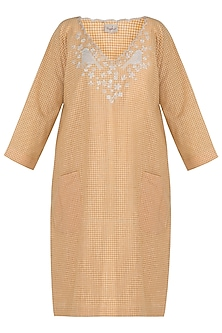 Ochre yellow embroidered boxy dress