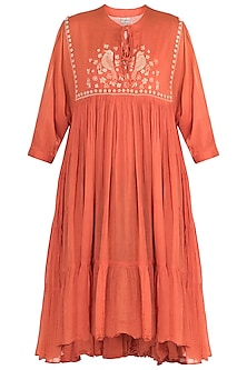 Carrot embroidered yoke dress