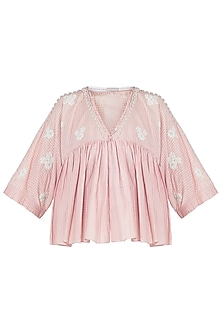 Pink embroidered cropped jacket by Myoho