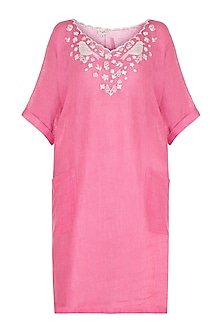 Rose pink embroidered boxy kaftan