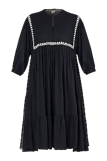Black embroidered tier dress