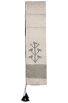 Mud brown embroidered jamdani stole