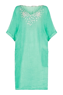 Sea green embroidered boxy kaftan kurta