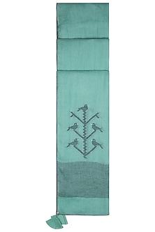 Sea green embroidered jamdani stole by Myoho