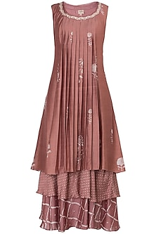 Dusty Pink Layered Block Printed and Embroidered Maxi Dress