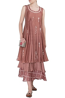 Dusty Pink Layered Block Printed and Embroidered Maxi Dress by Myoho