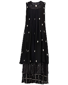 Black Layered Printed and Embroidered Maxi Dress