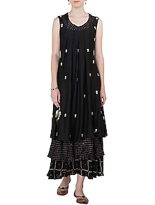 Black Layered Printed and Embroidered Maxi Dress by Myoho