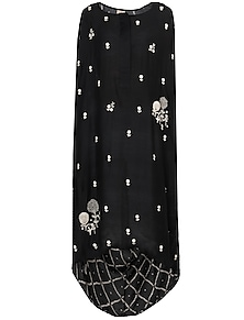 Black Embroidered Cowl Tunic