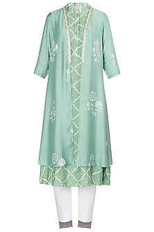 Mint Green Block Printed and Embroidered Jacket by Myoho