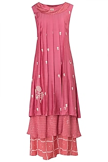 Pink Layered Printed and Embroidered Maxi Dress