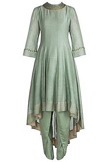 Jade Green Embroidered Asymmetrical Kurta with Dhoti Pants
