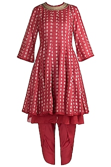 Red Hand Block Printed Kurta with Dhoti Pants