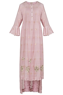 Baby Pink Pintucks Embroidered Kurta Set