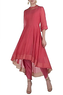 Pink Embroidered Asymmetrical Kurta with Dhoti Pants by Myoho