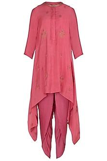 Pink Embroidered Asymmetrical Kurta with Dhoti Pants Set by Myoho