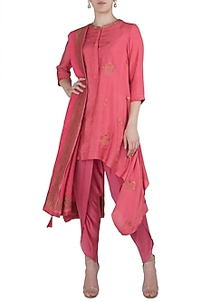 Pink Embroidered Asymmetrical Kurta with Dhoti Pants Set by Myoho