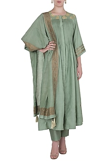 Jade Green Pintucks Kurta with Striaght Pants Set by Myoho