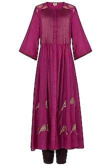 Pink and Maroon Embroidered Pintucks Kurta with Pants