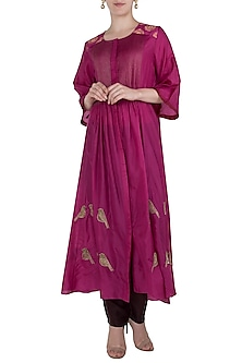 Pink and Maroon Embroidered Pintucks Kurta with Pants by Myoho