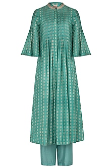 Sea Green Hand Block Printed Kurta with Pants