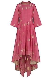 Pink Asymmetrical Embroidered Kurta with Dhoti Pants by Myoho