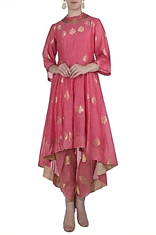 Pink Asymmetrical Embroidered Kurta with Dhoti Pants by Myoho