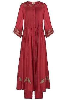 Red Banarasi Pintucks Kurta Set
