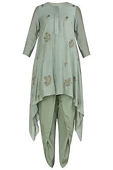 Jade Green Embroidered Asymmetrical Kurta with Pants by Myoho